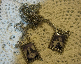 Silver Scapulary of Our Lady Mt Carmel & Sacred Heart Jesus Religious Catholic necklace pendant