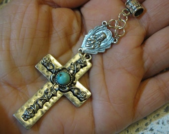 Silver Medal Sacred Heart & Turquoise Cross Religious Catholic necklace pendant for necklace