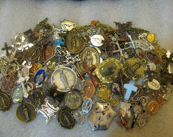 50 MEDALS HUGE Religious Medal LOT  rosary making,charm bracelet,jewelry,Our Lady & St