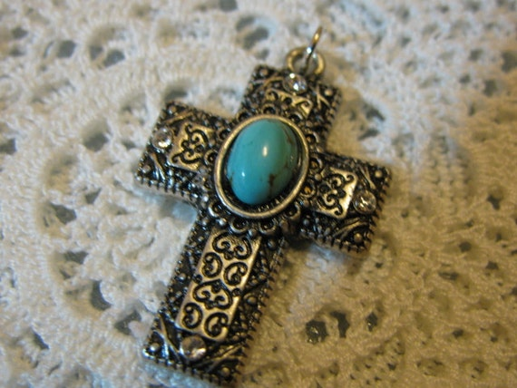 Silver Turquoise medal cross Religious pendant for  necklace, rosary, chaplet, bracelet, charm for any jewelry