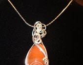 Opaque red handcrafted sterling silver Lake Superior Agate Gemstone Pendant
