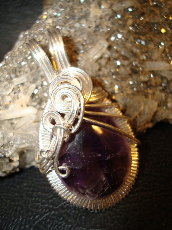 SALE Amethyst Wire Wrapped Pendant