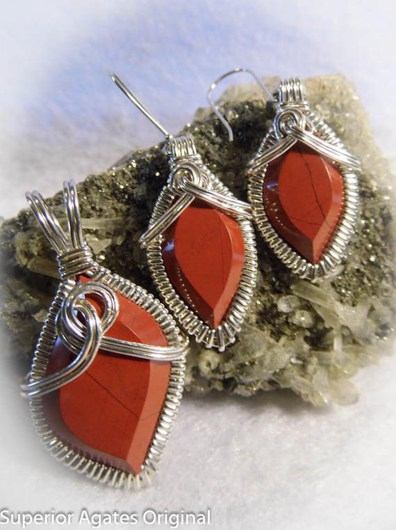 Minnesota Jasper Wire Wrapped Pendant Earrings Set