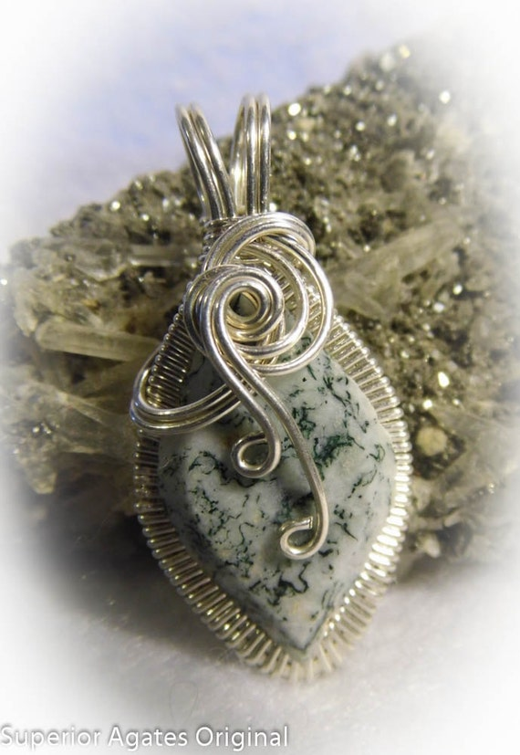 Green Tree Agate Silver Wire Wrapped Pendant