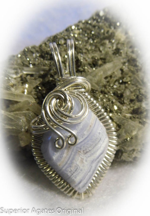 Baby Blue Lace Agate Wire Wrapped Pendant