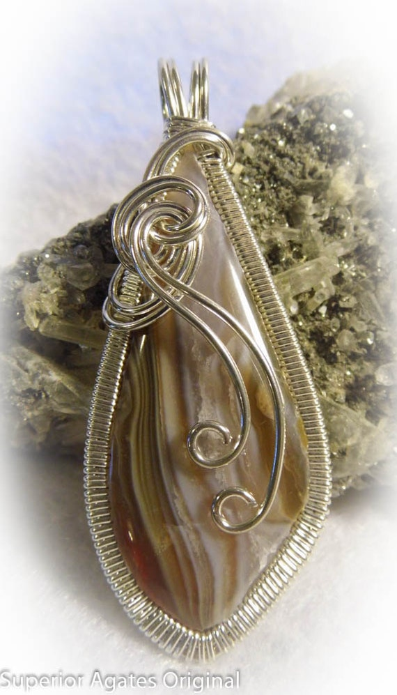 Large Lake Superior Agate Wire Wrapped Pendant