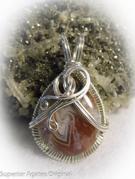 Gorgeous Lake Superior Agate Wire Wrapped Pendant
