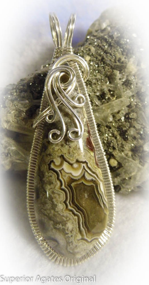 Mexican Crazy Lace Silver Wire Wrapped Pendant