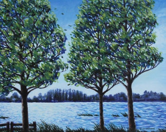 Lake Landscape Painting Wind in Trees 24x18 Original Acrylic