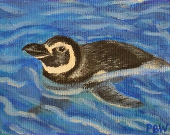 Penguin ACEO Painting Original Art