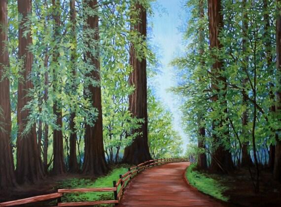 Original Landscape Painting Redwood Forest Path Fine Art