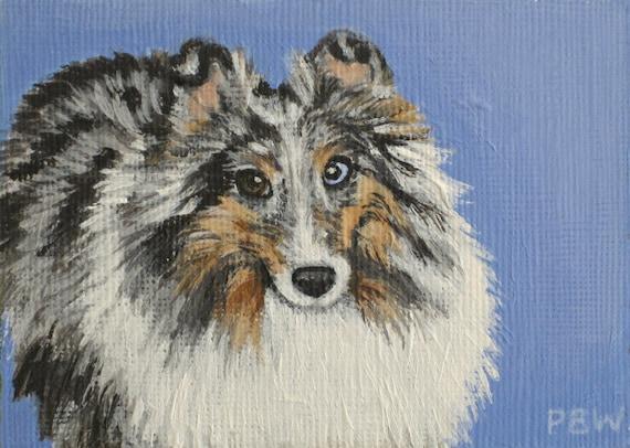 ACEO Original Shetland Sheepdog Blue Merle Sheltie Painting
