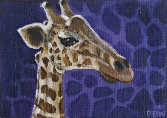 ACEO Original Giraffe at the Zoo Collectible Painting