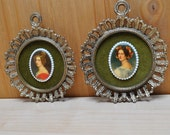 Ornate Framed Ladies, Set of 2, Vintage,  Valentine