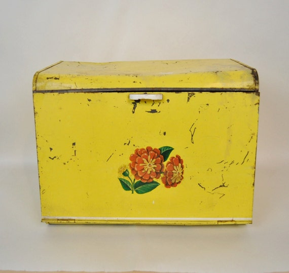 Extra Large Bread Box Old Farmhouse 1940s Metal Yellow