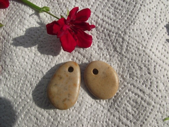top drilled mediterranean beach pebbles. 2 spanish beach rocks, natural and smooth rocks by Oceangifts