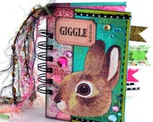 Pink and Turquoise Bunny Rabbit Mini-Album or Journal