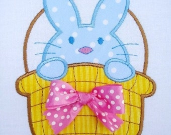 Bunny Basket Machine Embroidery Design Applique 4x4 and 5x7