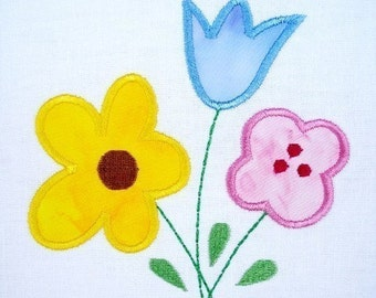 Flower Bouquet Machine Embroidery Design Applique 4x4 and 5x7