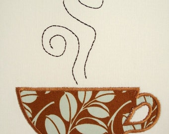 Coffee Cup Machine Embroidery Design Applique Design 4x4 and 5x7