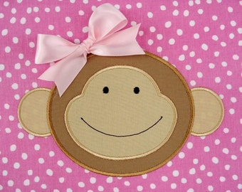Machine Embroidery Applique Design - Monkey Face No.1 - 4x4 and 5x7