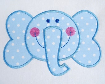Elephant Face Machine Embroidery Applique Design 4x4 and 5x7