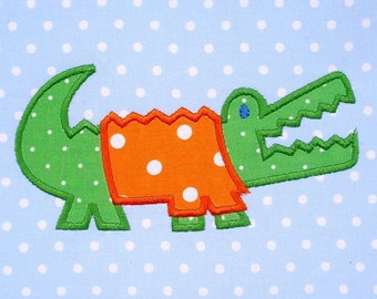 Gator with Shirt Applique Machine Embroidery - Three Sizes 4x4, 5x7 and 6x10