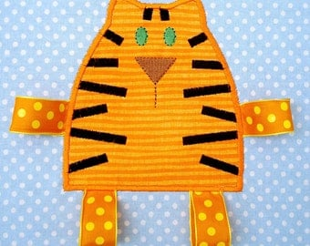 Tiger - Tabby Cat Embroidery Design for Machine Embroidery Applique - with Ribbon Legs- Two Sizes 4x4 and 5x7