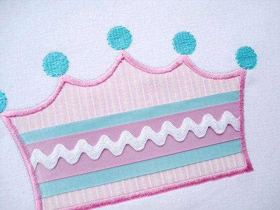 Princess Crown Machine Embroidery Design Applique - Two Sizes 4x4 and 5x7
