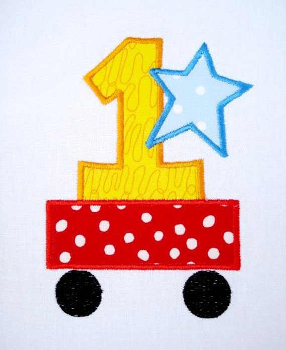 First Birthday Train Car Machine Embroidery Design Applique 4x4 and 5x7