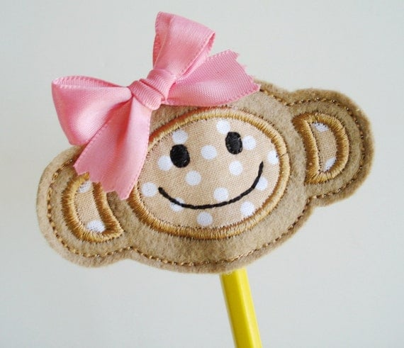 Embroidery Design for Machine Embroidery In-The-Hoop Monkey Hair Clippie and Pencil Topper 4x4