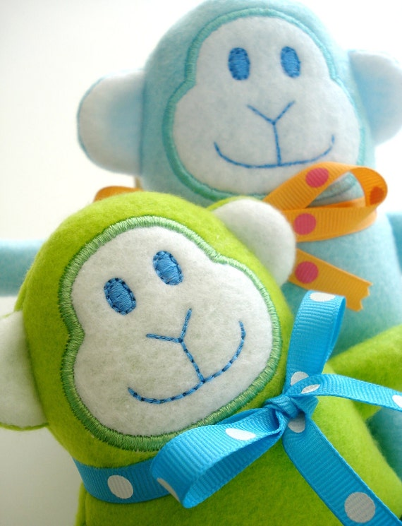Embroidery Design for Machine Embroidery Monkey Softie In-The-Hoop - Three Sizes