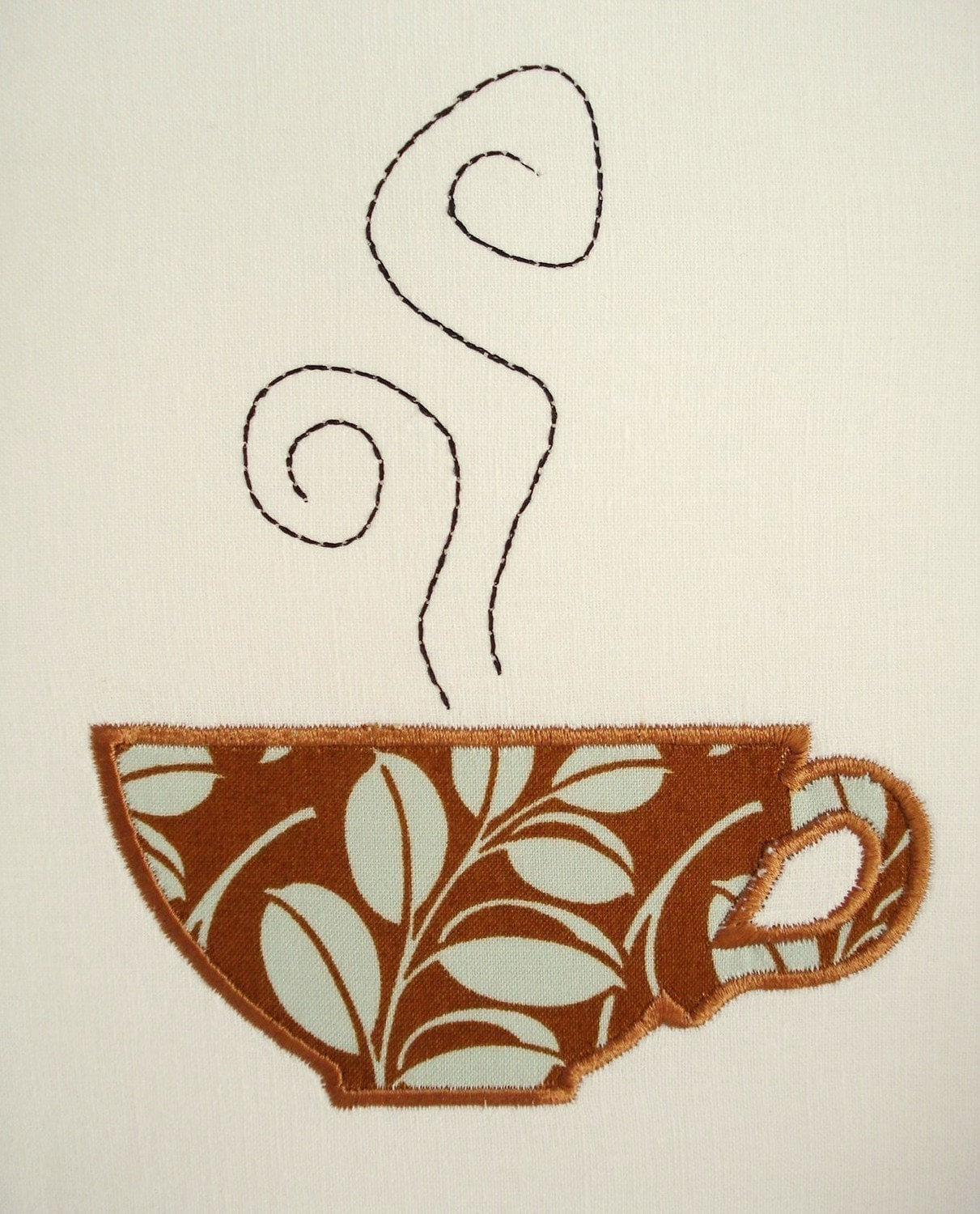 Coffee Cup Machine Embroidery Design Applique Design 4x4 And