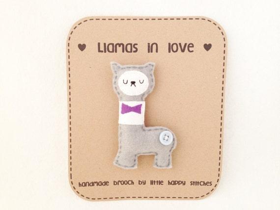 Felt Llama Brooch