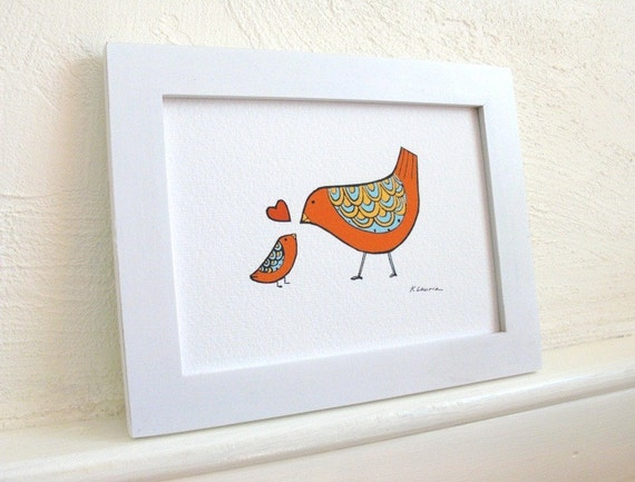 Mommy and Baby Love Birds - Art Print