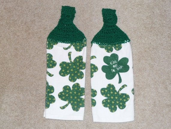 """Crocheted Topped Hanging Kitchen Towels- """"Kiss Me I'm Irish"""" towels with green yarn toppers"""