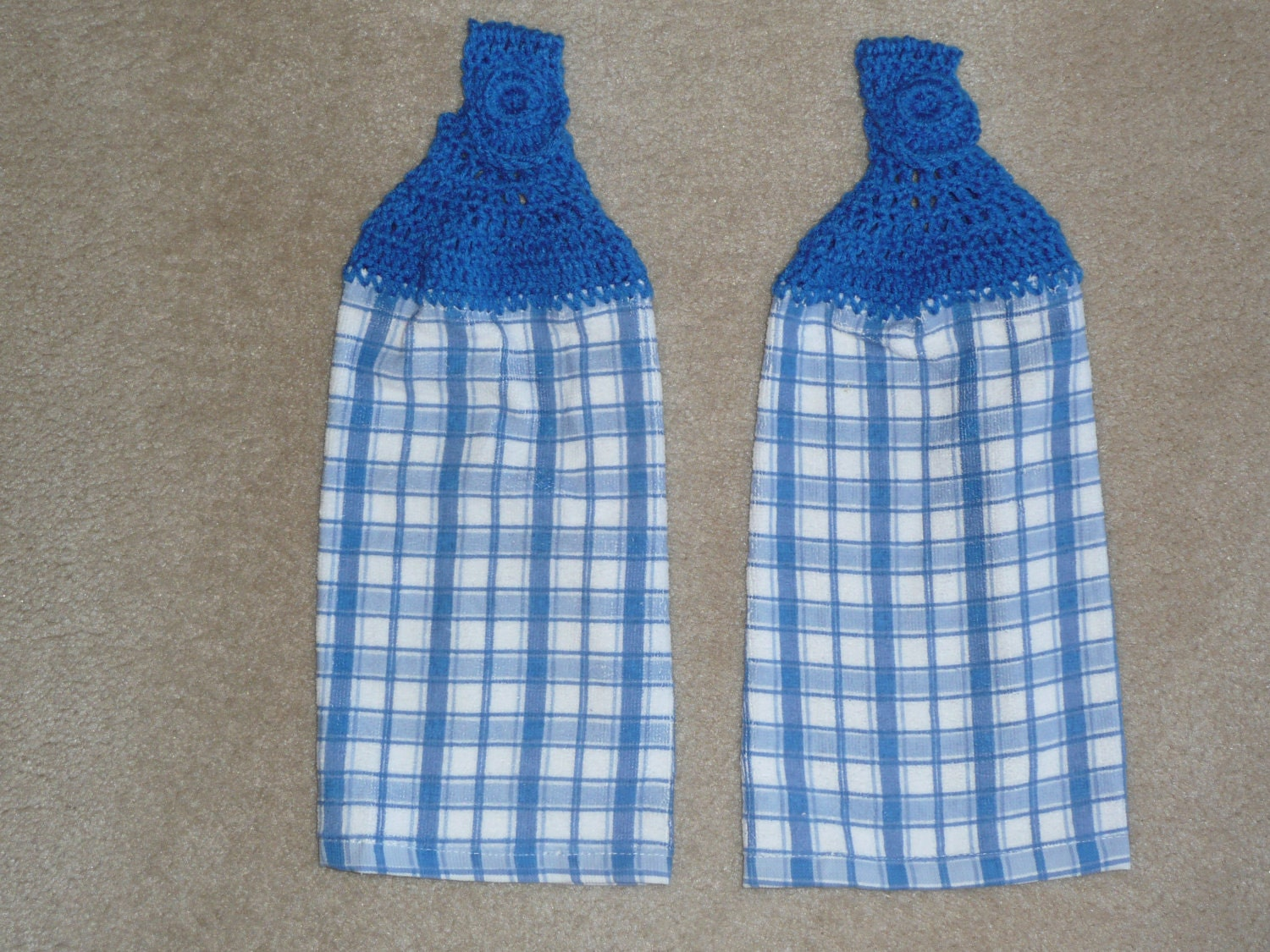 Crochet Patterns Kitchen Towels : Crocheted Topped Hanging Kitchen Towels-Blue Plaid towels with