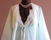 Vintage 1960's Mint Green Peignoir With White Lace Reserved