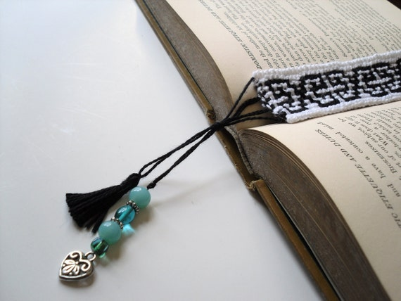 Bookmark Knitted Book Accessory - Handmade Hand Knitted Black and White Bookmarker