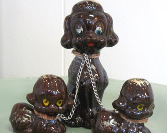 Vintage Poodle Figurine Trio - made in Japan - redware - 1950s - mom and puppies on leashes - kitsch