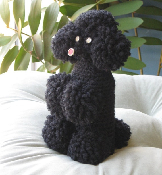 SALE - Vintage Crocheted Poodle Figurine (created from an old bottle) retro - kitsch - dog - collectible