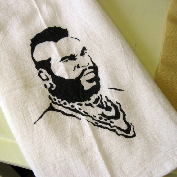 The Mr. Tea Towel (hand painted) Mr.T - funny gift - housewarming gift - for him - new home - retro