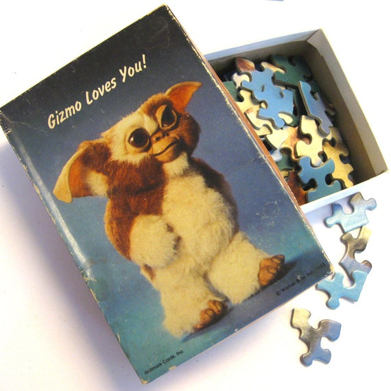 Vintage 1983 Gizmo Loves You Gremlins Puzzle - complete- 1980s - retro - movie memorabilia - retro