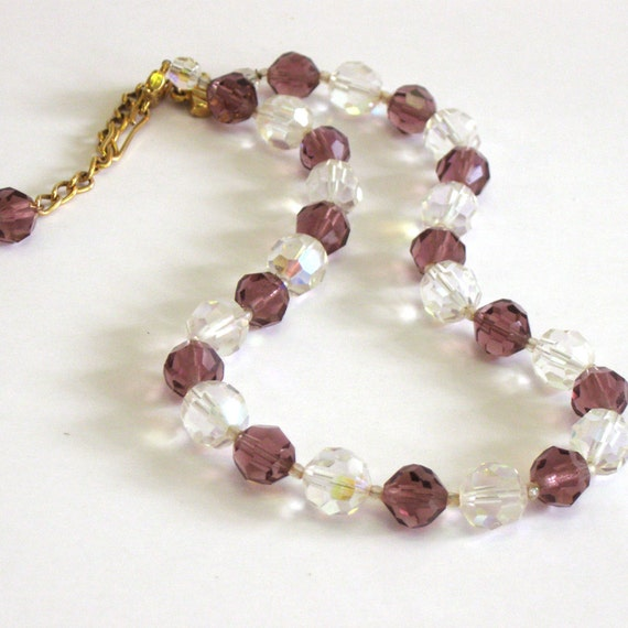 Vintage Plum and Clear Crystal  Necklace - 1960s - 1950s -  jewelry - summer jewelry - purple - 1950s necklace - for her