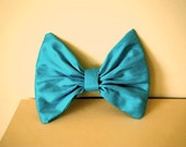 Large Peacock Blue Shantung Silk Satin Bow Brooch Pin Handmade