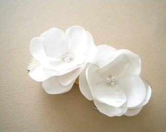 Petite Roses Satin Flower Clips Handmade Wedding bridal hair clip flower girl