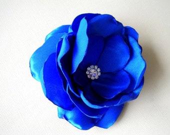 Royal Blue | White | Ivory | Coral | Satin Flower brooch pin with rhinestone dress sash clutch Prom- Handmade Flower