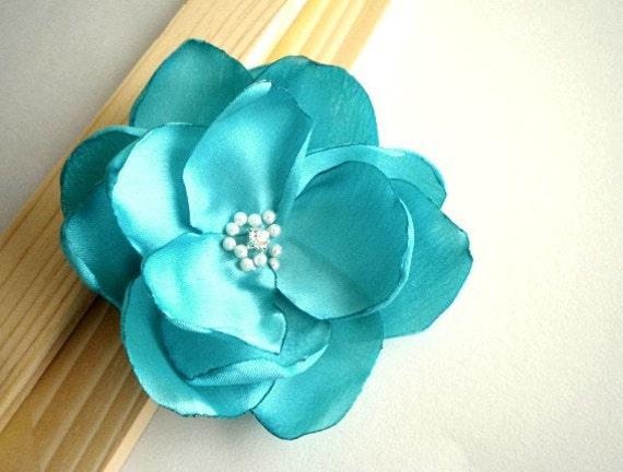 STORE CLOSING Tiffany Blue Satin Hair flower clip brooch dress sash clutch Prom- Handmade Flower