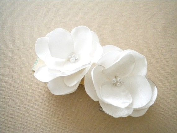 Petite Roses Satin Flower Clips Handmade Wedding bridal hair clip flower girl