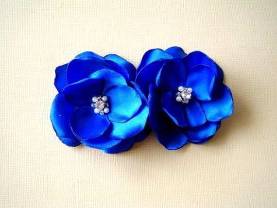 Royal Blue Shoe Clips  Satin Flowers with Rhinestone Center Handmade customize your color